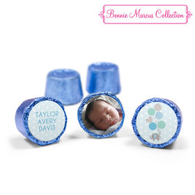 Bonnie Marcus Collection Personalized Blue Rolos Baby Elephants Boy Birth Announcement (50 Pack)