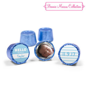 Bonnie Marcus Collection Personalized Photo Blue Rolos Name Tag Boy Birth Announcement (50 Pack)