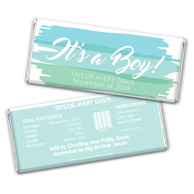 Bonnie Marcus Collection Personalized Chocolate Bar and Wrapper with Gold Foil Watercolor Boy Birth Announcement