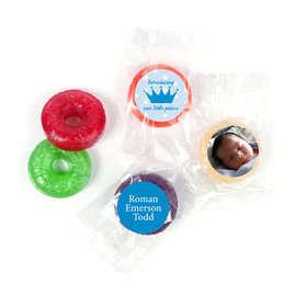 Bonnie Marcus Personalized LifeSavers 5 Flavor Hard Candy Polka Dots & Crown Birth Announcement (300 Pack)