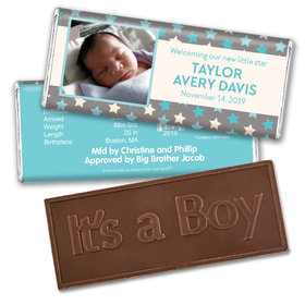Bonnie Marcus Collection Personalized Embossed It's a Boy Bar Star Boy Birth Announcement