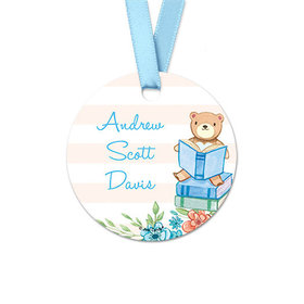 Personalized Reading Bear Baby Boy Announcement Round Favor Gift Tags (20 Pack)