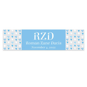 Personalized Blue Hearts Baby Boy Announcements Banner