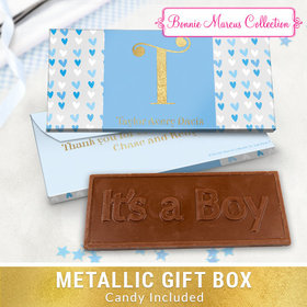 Deluxe Personalized Blue Hearts Baby Boy Announcement Embossed Chocolate Bar in Metallic Gift Box