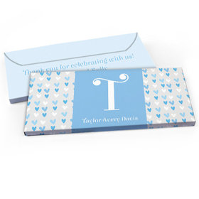 Deluxe Personalized Blue Hearts Baby Boy Announcement Chocolate Bar in Gift Box