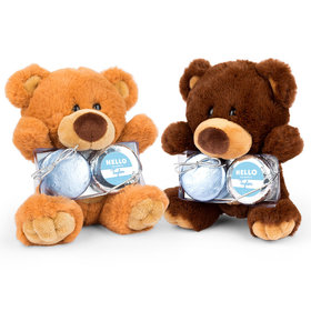 Personalized Bonnie Marcus Birth Announcement Hello Baby Boy Teddy Bear with Chocolate Covered Oreo 2pk