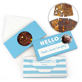 Personalized Bonnie Marcus Birth Announcement Baby Boy Name Tag Gourmet Infused Belgian Chocolate Bars (3.5oz)
