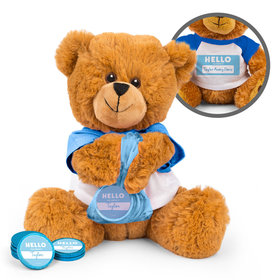 Personalized Hello Baby Boy Birth Announcement Teddy Bear with Chocolate Coins in XS Organza Bag
