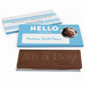 Deluxe Personalized Name Tag Baby Boy Announcement Chocolate Bar in Gift Box