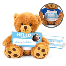 Personalized Birth Announcement Hello Baby Boy Teddy Bear with Embossed Chocolate Bar in Deluxe Gift Box