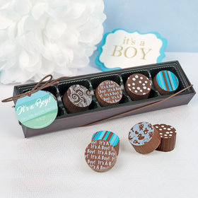 Personalized Boy Birth Announcement Watercolor Gourmet Chocolate Truffle Gift Box (5 Truffles)