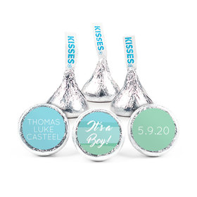 Personalized Boy Birth Announcement Watercolor Hershey's Kisses (50 pack)