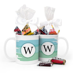 Personalized Baby Boy Announcement Watercolor 11oz Mug with Hershey's Miniatures