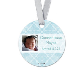 Personalized Baby Boy Light Blue Photo Birth Announcement Round Favor Gift Tags (20 Pack)