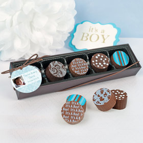 Personalized Boy Birth Announcement Photo Gourmet Chocolate Truffle Gift Box (5 Truffles)