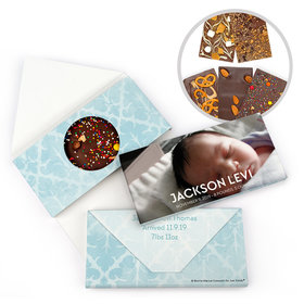 Personalized Bonnie Marcus Birth Announcement Baby Boy Photo Gourmet Infused Belgian Chocolate Bars (3.5oz)