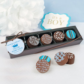 Personalized Boy Birth Announcement Polka Dots & Crown Gourmet Chocolate Truffle Gift Box (5 Truffles)