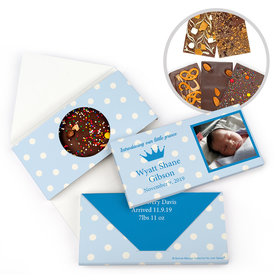 Personalized Bonnie Marcus Birth Announcement Baby Boy Polka Dots & Crown Gourmet Infused Belgian Chocolate Bars (3.5oz)