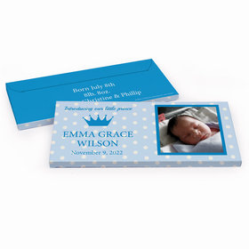 Deluxe Personalized Polka Dots & Crown Baby Boy Announcement Chocolate Bar in Gift Box