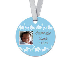 Personalized Baby Boy Bonnie Marcus Animal Parade Birth Announcement Round Favor Gift Tags (20 Pack)