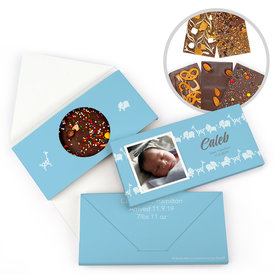 Personalized Bonnie Marcus Birth Announcement Baby Boy Animal Parade Gourmet Infused Belgian Chocolate Bars (3.5oz)