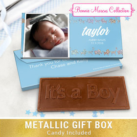 Deluxe Personalized Animal Parade Baby Boy Announcement Embossed Chocolate Bar in Metallic Gift Box