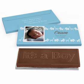 Deluxe Personalized Birth Announcement Animal Parade Embossed Chocolate Bar in Gift Box