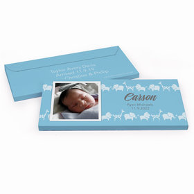 Deluxe Personalized Animal Parade Baby Boy Announcement Chocolate Bar in Gift Box