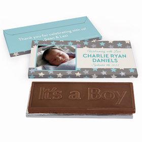 Deluxe Personalized Star Baby Boy Announcement Chocolate Bar in Metallic Gift Box