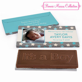Deluxe Personalized Birth Announcement Star Boy Embossed Chocolate Bar in Gift Box