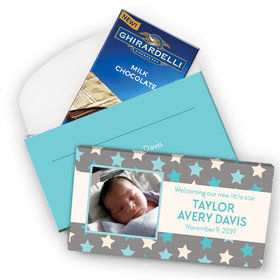 Deluxe Personalized Star Boy Birth Announcement Ghirardelli Peppermint Bark Bar in Gift Box (3.5oz)