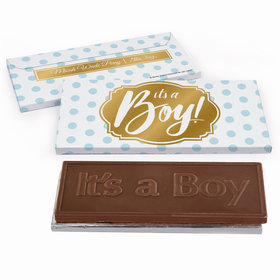 Deluxe Personalized Polka Dots Baby Boy Announcement Chocolate Bar in Metallic Gift Box