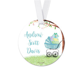 Personalized Carriage Baby Boy Announcement Round Favor Gift Tags (20 Pack)