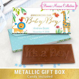Deluxe Personalized Safari Snuggles Baby Boy Announcement Embossed Chocolate Bar in Metallic Gift Box