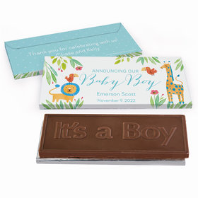 Deluxe Personalized Safari Snuggles Baby Boy Announcement Chocolate Bar in Gift Box