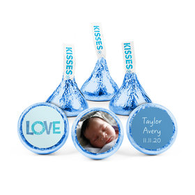 Personalized Boy Birth Announcement Love Hershey's Kisses (50 pack)