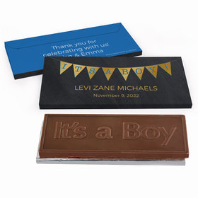 Deluxe Personalized It's a Boy Banner Baby Boy Announcement Chocolate Bar in Metallic Gift Box
