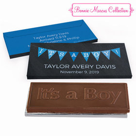 Deluxe Personalized Birth Announcement It's A Boy Banner Embossed Chocolate Bar in Gift Box