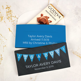 Deluxe Personalized Boy Birth Announcement Banner Godiva Chocolate Bar in Gift Box
