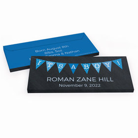 Deluxe Personalized Birth Announcement It's A Boy Banner Chocolate Bar in Gift Box