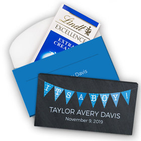 Deluxe Personalized Boy Birth Announcement Banner Lindt Chocolate Bar in Gift Box (3.5oz)