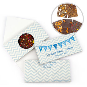 Personalized Bonnie Marcus Birth Announcement Baby Boy Chervron & Banner Gourmet Infused Belgian Chocolate Bars (3.5oz)