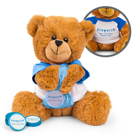 Personalized It's a Boy Banner Birth Announcement Teddy Bear with Chocolate Coins in XS Organza Bag