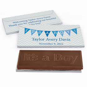 Deluxe Personalized Birth Announcement Baby Boy Banner Chocolate Bar in Gift Box