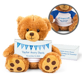 Personalized Birth Announcement It's a Boy Banner Teddy Bear with Embossed Chocolate Bar in Deluxe Gift Box