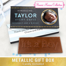 Deluxe Personalized Heart Pattern Baby Boy Announcement Embossed Chocolate Bar in Metallic Gift Box