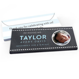 Deluxe Personalized Heart Pattern Baby Boy Announcement Chocolate Bar in Gift Box