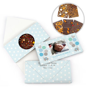 Personalized Bonnie Marcus Birth Announcement Baby Boy Elephants Gourmet Infused Belgian Chocolate Bars (3.5oz)