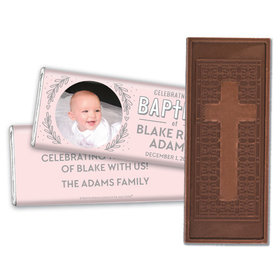 Personalized Bonnie Marcus Filigree and Heart Baptism Embossed Chocolate Bar
