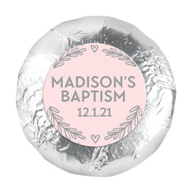 """Personalized Bonnie Marcus Filigree and Heart Baptism 1.25"""" Stickers (48 Stickers)"""